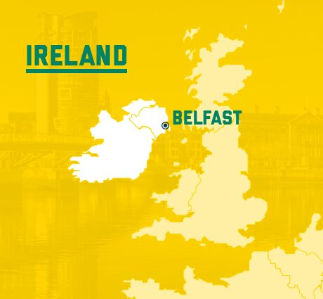 Map of UK and Ireland indicating the location of Belfast