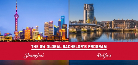 Global Bachelor's Banner with Shanghai and Belfast Skylines