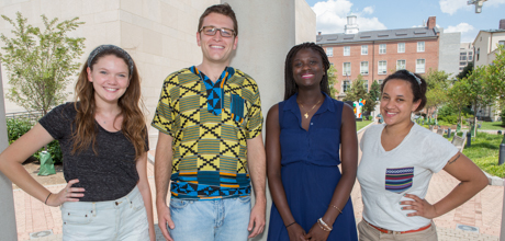 Junior Joy Finneran, Study Abroad Advisor Taylor Wood, junior Samah McGona and junior Alexandra Copeland.
