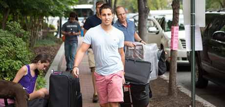 Student moving into the dorms.