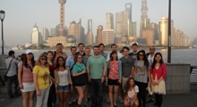 Students stand together in Shanghai during the course.