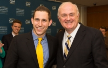 2013 Commencement student speaker Alexander Zafran poses for a congratulatory photo with President Steven Knapp.