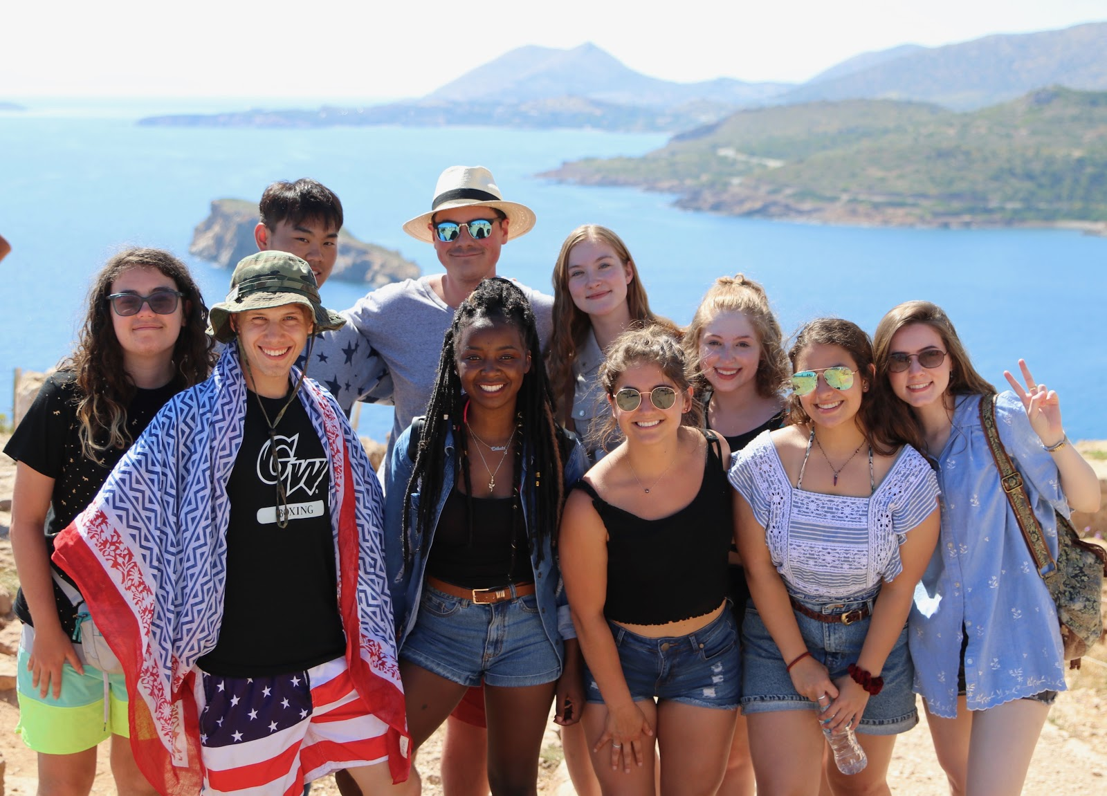 GW students on the Greece: Athens, the Peloponnese, and Santorini short-term abroad program.