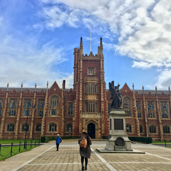 GW student Carmella Saia in front of the Lanyon Building at Queen's University Belfast.