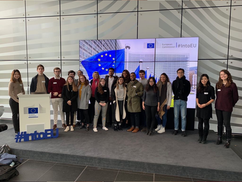 GW students pose for a photograph at the IntoEU event hosted by the European Commission.