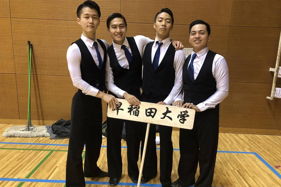 GW student Lorenz Vargas with his dance team at Waseda University in Japan.